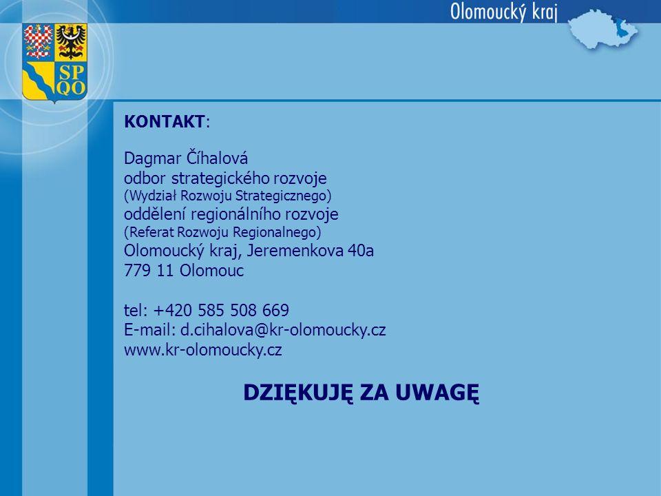DZIĘKUJĘ ZA UWAGĘ Dagmar Číhalová odbor strategického rozvoje (Wydział Rozwoju Strategicznego) oddělení regionálního rozvoje (Referat Rozwoju Regional