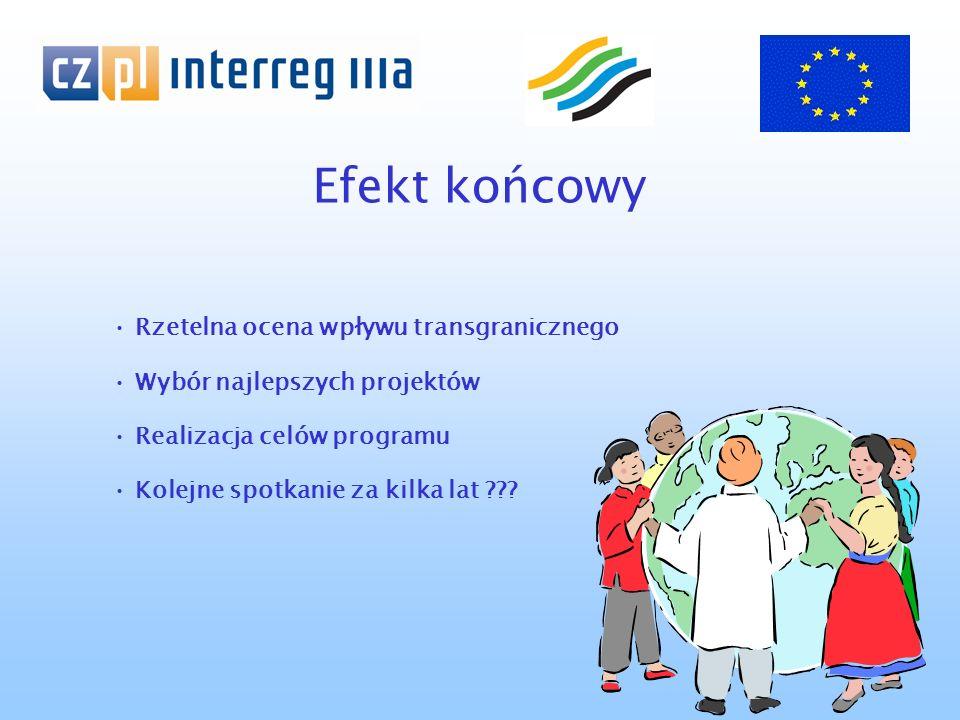 Efekt końcowy Rzetelna ocena wpływu transgranicznego Wybór najlepszych projektów Realizacja celów programu Kolejne spotkanie za kilka lat