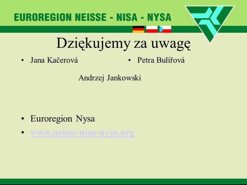 Dziękujemy za uwagę Jana KačerováPetra Bulířová Euroregion Nysa www.neisse-nisa-nysa.org Andrzej Jankowski