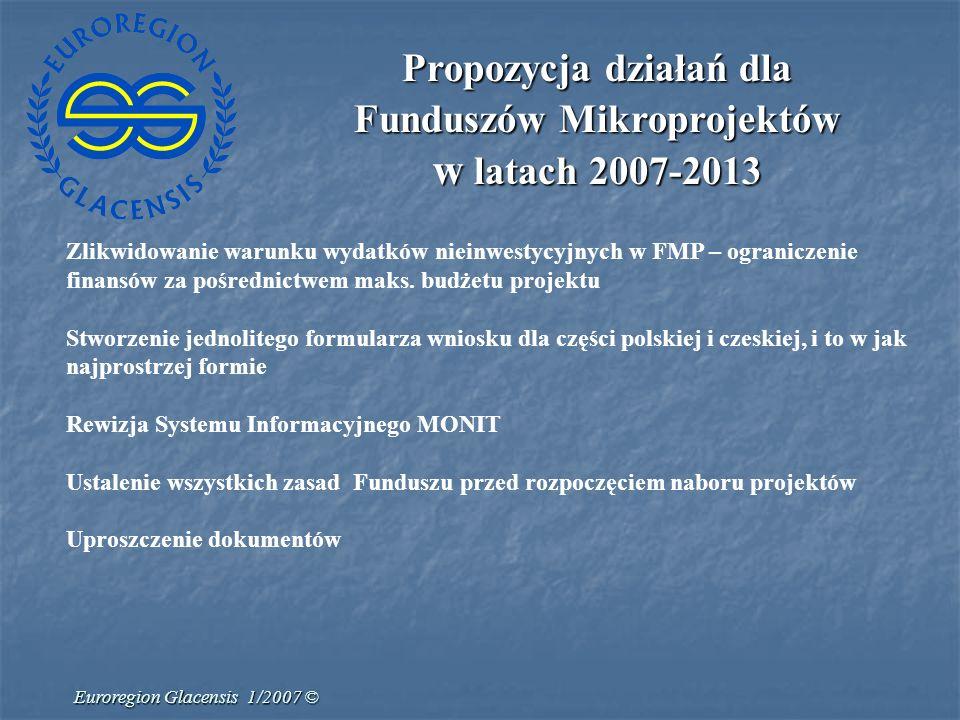 Euroregion Glacensis 1/2007 © Propozycja działań dla Funduszów Mikroprojektów w latach 2007-2013 Zlikwidowanie warunku wydatków nieinwestycyjnych w FM