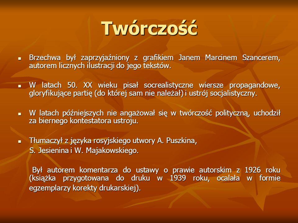 Nagrody Nagrody W 1955 roku Jan Brzechwa otrzymał nagrodę miasta Warszawy za całokształt twórczości, W 1955 roku Jan Brzechwa otrzymał nagrodę miasta Warszawy za całokształt twórczości, w 1956 roku nagrodę Prezesa Rady Ministrów za twórczość dla dzieci i młodzieży, natomiast w 1965 roku- nagrodę Ministra Kultury w 1956 roku nagrodę Prezesa Rady Ministrów za twórczość dla dzieci i młodzieży, natomiast w 1965 roku- nagrodę Ministra Kultury i Sztuki I stopnia za całokształt twórczości.