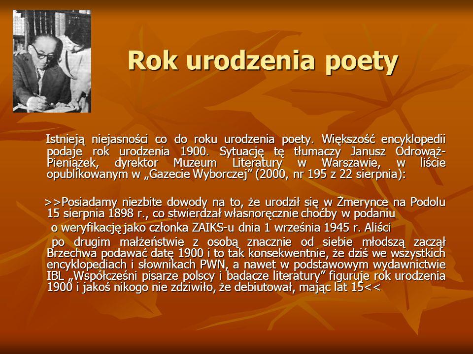 Rok urodzenia poety Rok urodzenia poety Istnieją niejasności co do roku urodzenia poety. Większość encyklopedii podaje rok urodzenia 1900. Sytuację tę