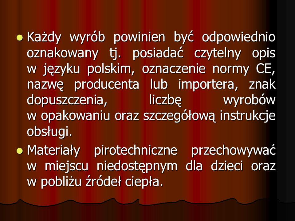 Każdy wyrób powinien być odpowiednio oznakowany tj. posiadać czytelny opis w języku polskim, oznaczenie normy CE, nazwę producenta lub importera, znak