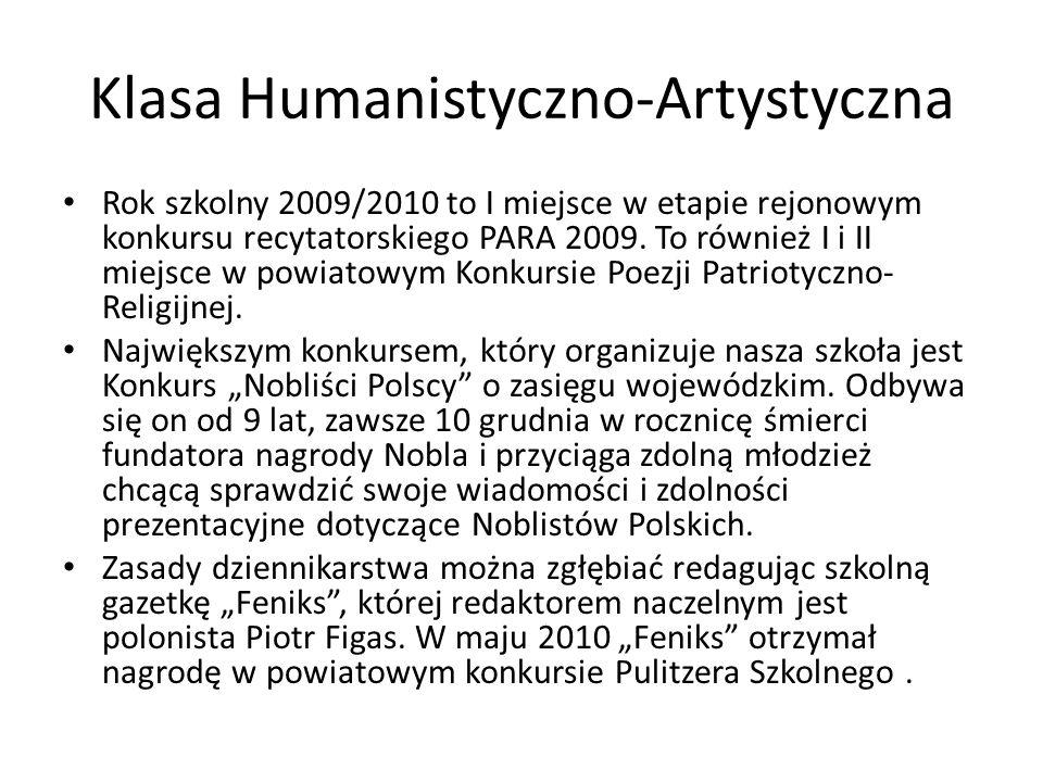 Klasa Humanistyczno-Artystyczna Rok szkolny 2009/2010 to I miejsce w etapie rejonowym konkursu recytatorskiego PARA 2009. To również I i II miejsce w