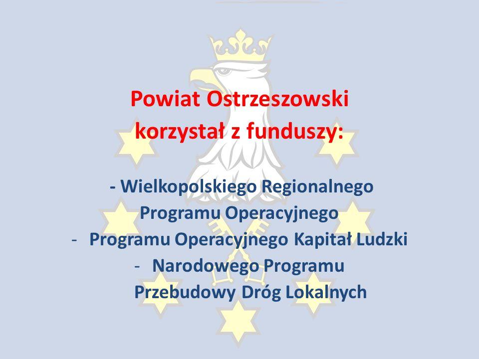 Powiat Ostrzeszowski korzystał z funduszy: - Wielkopolskiego Regionalnego Programu Operacyjnego -Programu Operacyjnego Kapitał Ludzki -Narodowego Programu Przebudowy Dróg Lokalnych