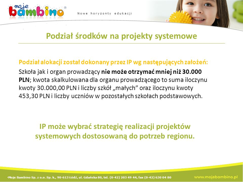 Moje Bambino Sp. z o.o. Sp. k., 90-613 Łódź, ul.