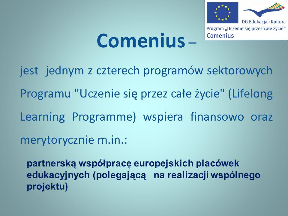 Comenius – jest jednym z czterech programów sektorowych Programu Uczenie się przez całe życie (Lifelong Learning Programme) wspiera finansowo oraz merytorycznie m.in.: partnerską współpracę europejskich placówek edukacyjnych (polegającą na realizacji wspólnego projektu)