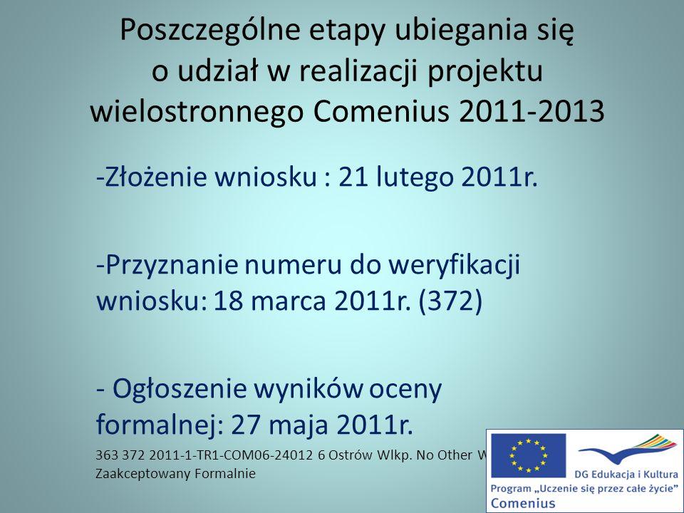 Poszczególne etapy ubiegania się o udział w realizacji projektu wielostronnego Comenius 2011-2013 -Złożenie wniosku : 21 lutego 2011r. -Przyznanie num