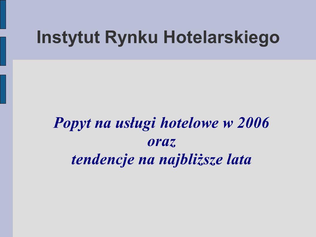 Instytut Rynku Hotelarskiego Popyt na usługi hotelowe w 2006 oraz tendencje na najbliższe lata