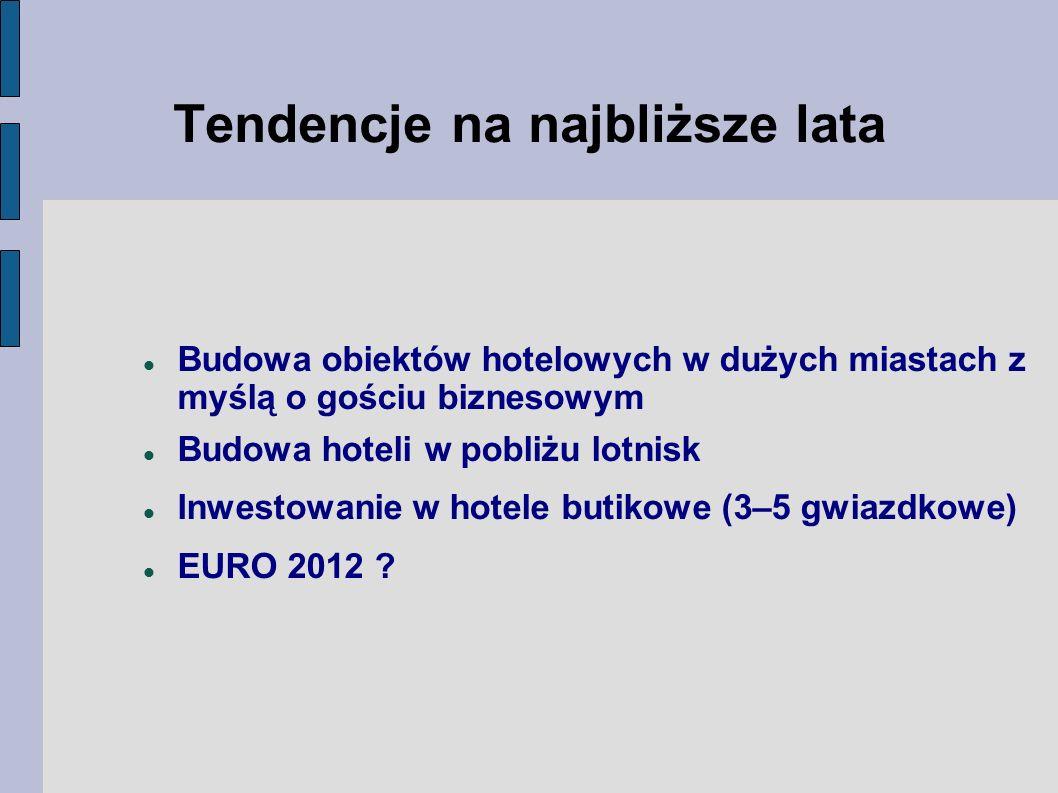 Budowa obiektów hotelowych w dużych miastach z myślą o gościu biznesowym Budowa hoteli w pobliżu lotnisk Inwestowanie w hotele butikowe (3–5 gwiazdkowe) EURO 2012 .