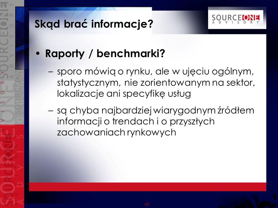 49 Skąd brać informacje. Raporty / benchmarki.