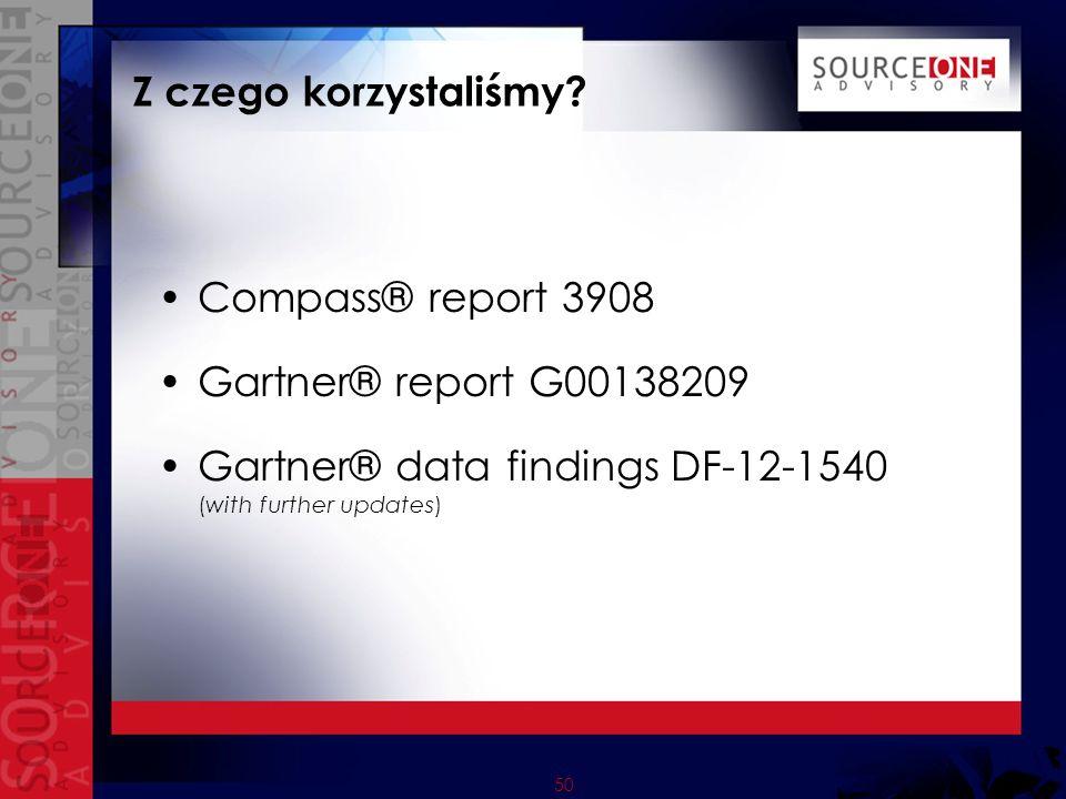 50 Z czego korzystaliśmy? Compass® report 3908 Gartner® report G00138209 Gartner® data findings DF-12-1540 (with further updates)