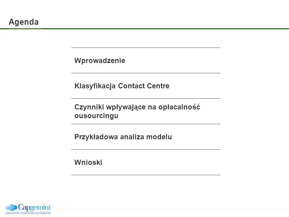 Agenda Wprowadzenie Klasyfikacja Contact Centre Czynniki wpływające na opłacalność ousourcingu Przykładowa analiza modelu Wnioski