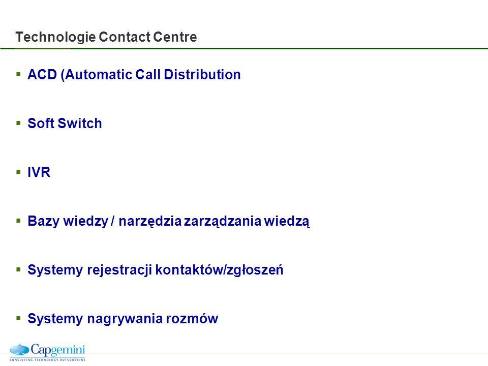 Technologie Contact Centre ACD (Automatic Call Distribution Soft Switch IVR Bazy wiedzy / narzędzia zarządzania wiedzą Systemy rejestracji kontaktów/zgłoszeń Systemy nagrywania rozmów