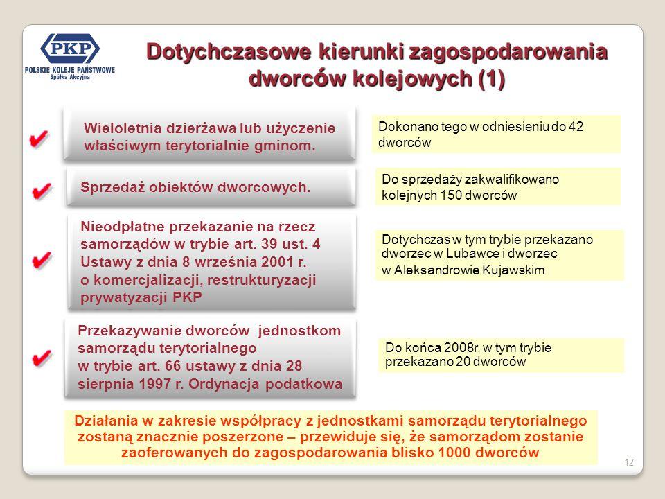 12 Dotychczasowe kierunki zagospodarowania dworc ó w kolejowych (1) Wieloletnia dzierżawa lub użyczenie właściwym terytorialnie gminom.