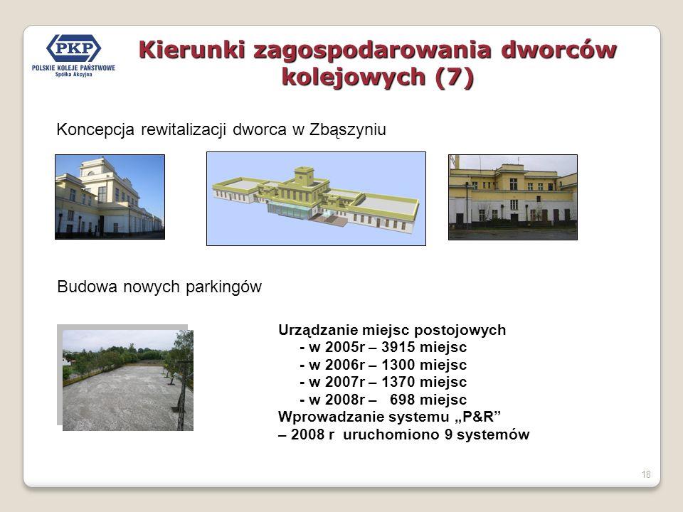 18 Koncepcja rewitalizacji dworca w Zbąszyniu Kierunki zagospodarowania dworców kolejowych (7) Urządzanie miejsc postojowych - w 2005r – 3915 miejsc -