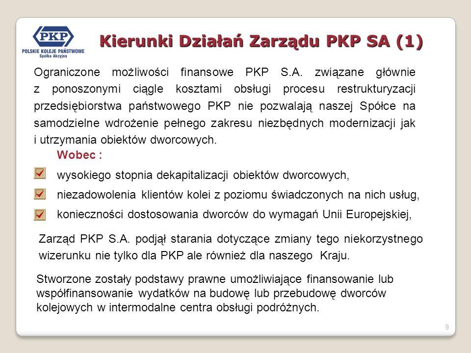 9 Ograniczone możliwości finansowe PKP S.A. związane głównie z ponoszonymi ciągle kosztami obsługi procesu restrukturyzacji przedsiębiorstwa państwowe