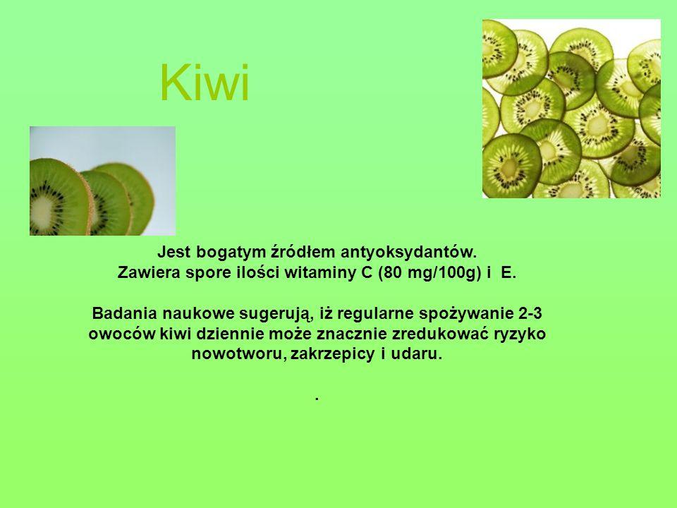 Kiwi Jest bogatym źródłem antyoksydantów. Zawiera spore ilości witaminy C (80 mg/100g) i E. Badania naukowe sugerują, iż regularne spożywanie 2-3 owoc