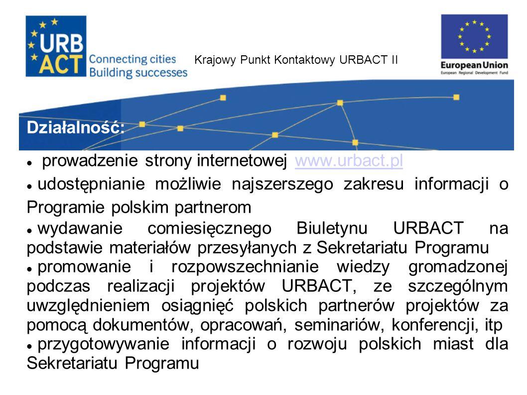 Krajowy Punkt Kontaktowy URBACT II Działalność: prowadzenie strony internetowej www.urbact.plwww.urbact.pl udostępnianie możliwie najszerszego zakresu informacji o Programie polskim partnerom wydawanie comiesięcznego Biuletynu URBACT na podstawie materiałów przesyłanych z Sekretariatu Programu promowanie i rozpowszechnianie wiedzy gromadzonej podczas realizacji projektów URBACT, ze szczególnym uwzględnieniem osiągnięć polskich partnerów projektów za pomocą dokumentów, opracowań, seminariów, konferencji, itp przygotowywanie informacji o rozwoju polskich miast dla Sekretariatu Programu