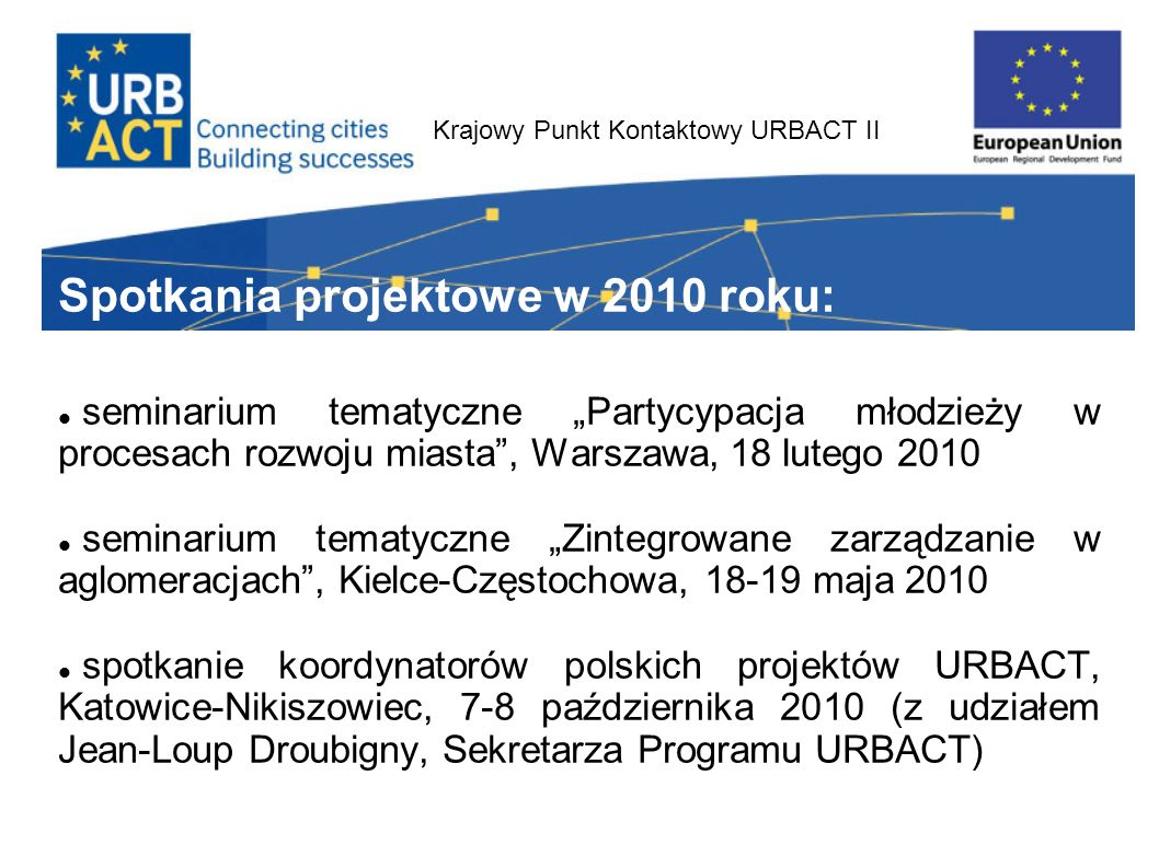 Krajowy Punkt Kontaktowy URBACT II Na 2011 zaplanowano: Konferencję tematyczną Zarządzanie urban sprawl oraz zintegrowane planowanie przestrzenne – luty 2011 Konferencję tematyczną Społeczne aspekty rewitalizacji w maj 2011 Serię trzech seminariów tematycznych dla członków Lokalnych Grup Wsparcia polskich projektów URBACT Letni Uniwersytet URBACT, ostatni tydzień sierpnia 2011 w Krakowie.