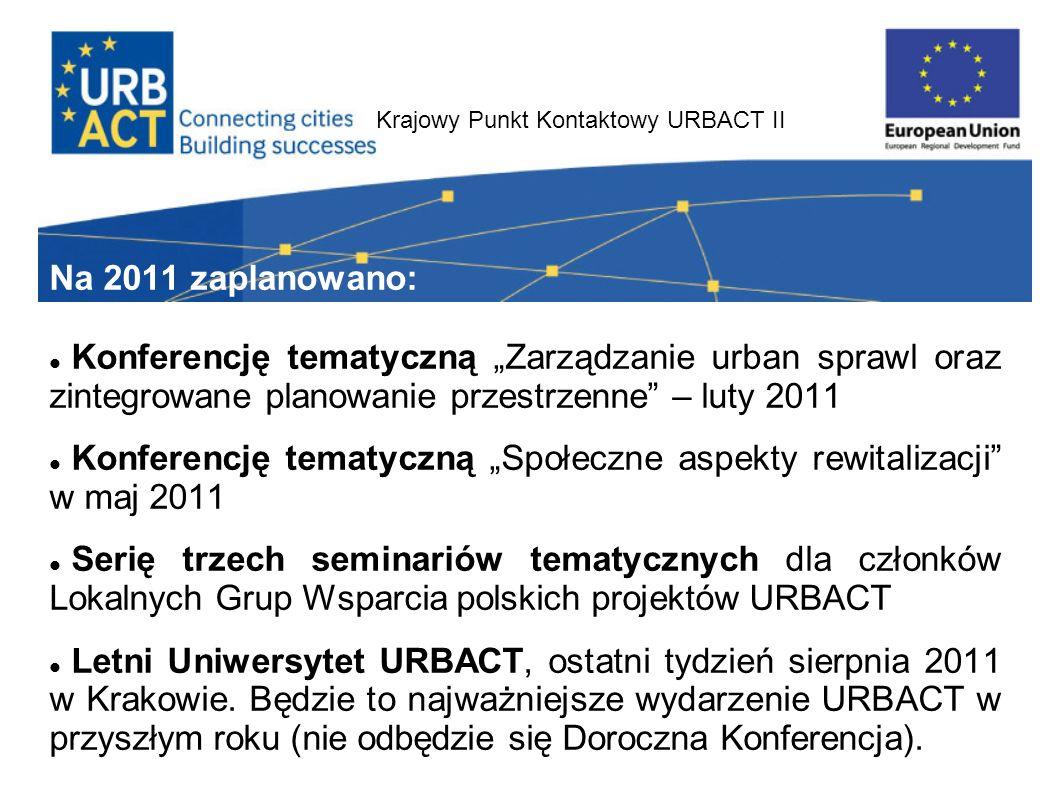 Krajowy Punkt Kontaktowy URBACT II Na 2011 zaplanowano: Konferencję tematyczną Zarządzanie urban sprawl oraz zintegrowane planowanie przestrzenne – lu