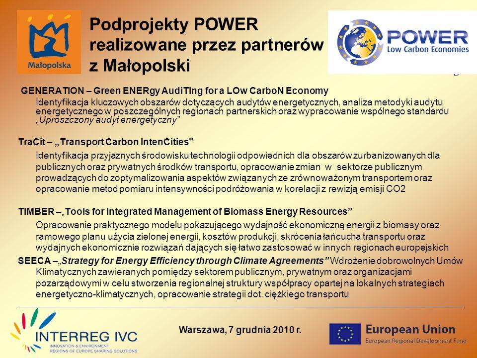 Podprojekty POWER realizowane przez partnerów z Małopolski GENERATION – Green ENERgy AudiTIng for a LOw CarboN Economy Identyfikacja kluczowych obszarów dotyczących audytów energetycznych, analiza metodyki audytu energetycznego w poszczególnych regionach partnerskich oraz wypracowanie wspólnego standarduUproszczony audyt energetyczny TraCit – Transport Carbon IntenCities Identyfikacja przyjaznych środowisku technologii odpowiednich dla obszarów zurbanizowanych dla publicznych oraz prywatnych środków transportu, opracowanie zmian w sektorze publicznym prowadzących do zoptymalizowania aspektów związanych ze zrównoważonym transportem oraz opracowanie metod pomiaru intensywności podróżowania w korelacji z rewizją emisji CO2 TIMBER –Tools for Integrated Management of Biomass Energy Resources Opracowanie praktycznego modelu pokazującego wydajność ekonomiczną energii z biomasy oraz ramowego planu użycia zielonej energii, kosztów produkcji, skrócenia łańcucha transportu oraz wydajnych ekonomicznie rozwiązań dających się łatwo zastosować w innych regionach europejskich SEECA –Strategy for Energy Efficiency through Climate Agreements Wdrożenie dobrowolnych Umów Klimatycznych zawieranych pomiędzy sektorem publicznym, prywatnym oraz organizacjami pozarządowymi w celu stworzenia regionalnej struktury współpracy opartej na lokalnych strategiach energetyczno-klimatycznych, opracowanie strategii dot.