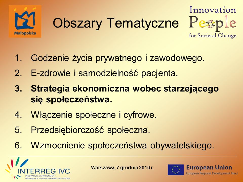Projekt POWER Low Carbon Economies CEL PROJEKTU: ulepszenie systemów zarządzania energią ze szczególnym uwzględnieniem potrzeb Małopolski oraz wymiana doświadczeń w tym zakresie pomiędzy regionami partnerskimi włączenie w/w proces podmiotów z Małopolski poprzez udział w podprojektach (wszystkie podprojekty mają promować wymianę wiedzy, doświadczeń, dobrych praktyk, a także narzędzi oraz instrumentów w zakresie wybranych strategii w obrębie Energii oraz Zrównoważonego Transportu) Opracowanie wytycznych do Regionalnego Planu Energetycznego dla Małopolski PARTNERZY: South East England Development Agency (UK) - Partner Wiodący Urząd Marszałkowski Województwa Małopolskiego (PL) Province Noord Brabant (NL) Andalusian Energy Agency, Andalusian Regional Energy (ES) Stockholm Region (SE) Tallinn City Government (EE) Region of Emilia Romagna (IT) Warszawa, 7 grudnia 2010 r.