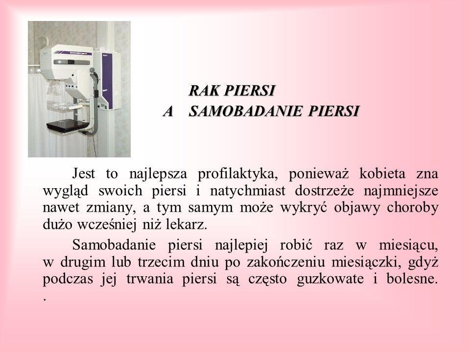Samobadanie piersi Badanie palpacyjne powinno obejmować zawsze oba sutki i węzły chłonne po obu stronach ciała.