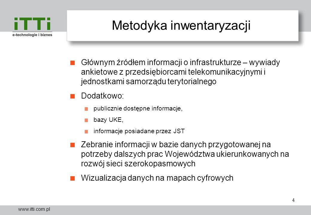 www.itti.com.pl Metodyka inwentaryzacji Głównym źródłem informacji o infrastrukturze – wywiady ankietowe z przedsiębiorcami telekomunikacyjnymi i jedn