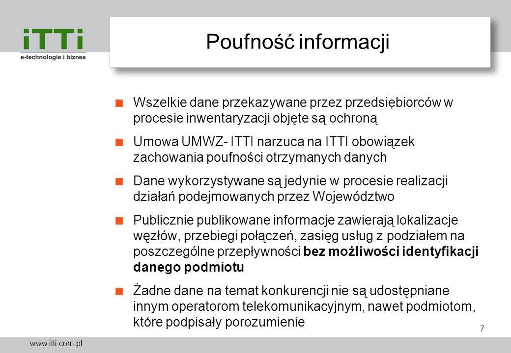 www.itti.com.pl Poufność informacji Wszelkie dane przekazywane przez przedsiębiorców w procesie inwentaryzacji objęte są ochroną Umowa UMWZ- ITTI narz