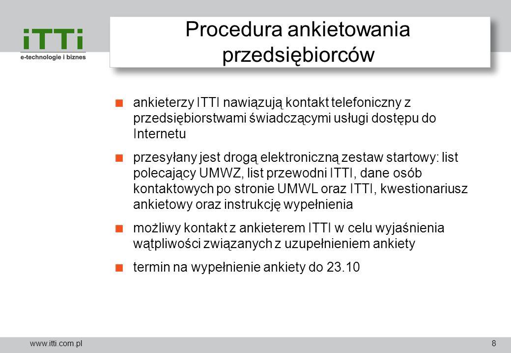 www.itti.com.pl Procedura ankietowania przedsiębiorców ankieterzy ITTI nawiązują kontakt telefoniczny z przedsiębiorstwami świadczącymi usługi dostępu