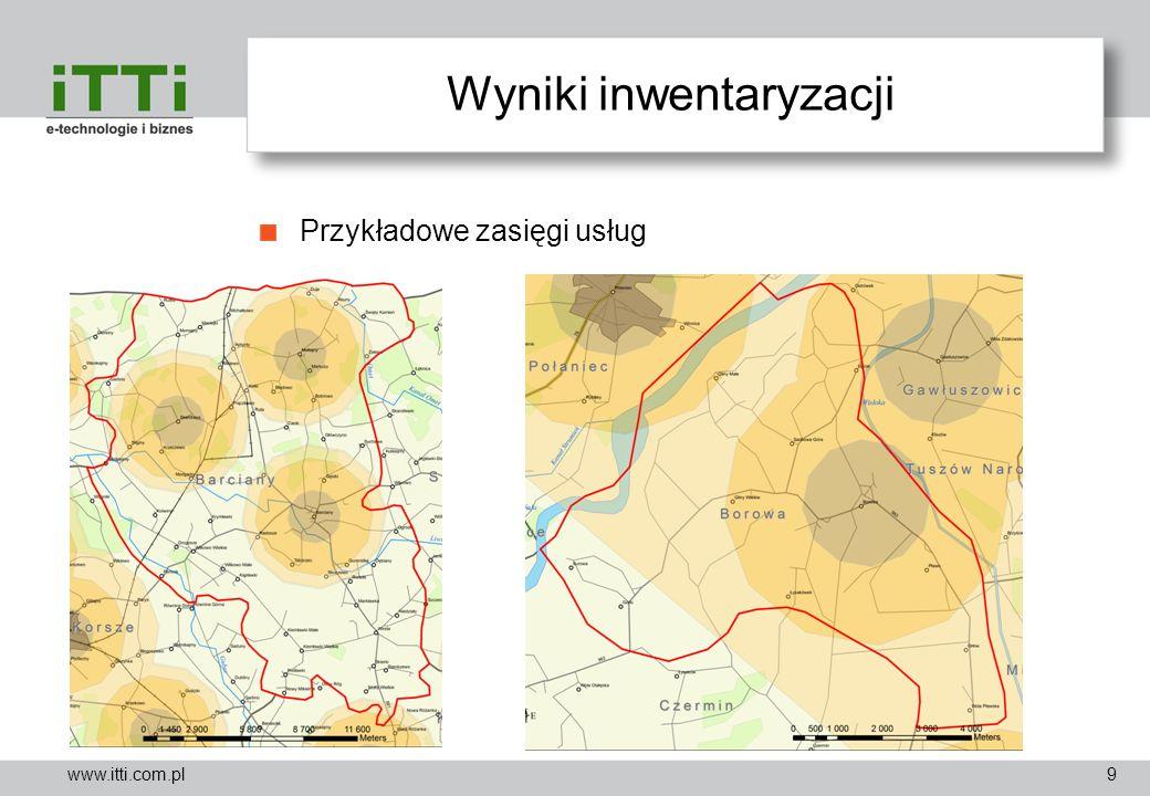 www.itti.com.pl Wyniki inwentaryzacji Przykładowe zasięgi usług 9