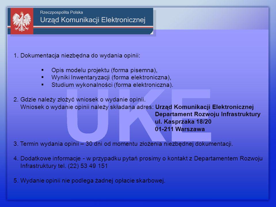 Dziękuję za uwagę Departament Rozwoju Infrastruktury m.koziara@uke.gov.pl tel. (22) 53 49 250