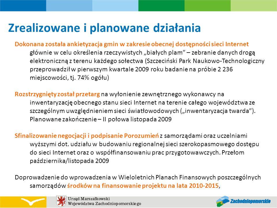 Zrealizowane i planowane działania Dokonana została ankietyzacja gmin w zakresie obecnej dostępności sieci Internet głównie w celu określenia rzeczywi