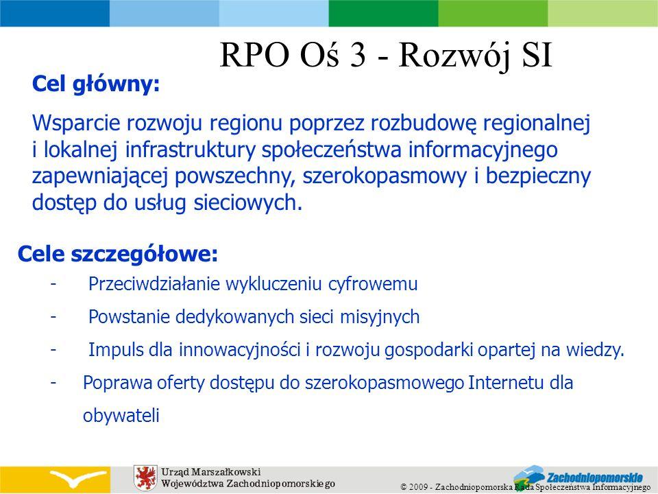 RPO Oś 3 - Rozwój SI Cele szczegółowe: - Przeciwdziałanie wykluczeniu cyfrowemu - Powstanie dedykowanych sieci misyjnych - Impuls dla innowacyjności i