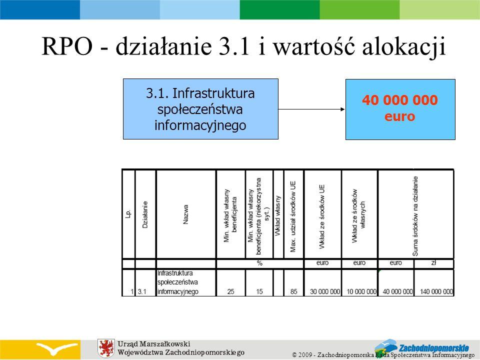 RPO - działanie 3.1 i wartość alokacji 3.1. Infrastruktura społeczeństwa informacyjnego 40 000 000 euro © 2009 - Zachodniopomorska Rada Społeczeństwa