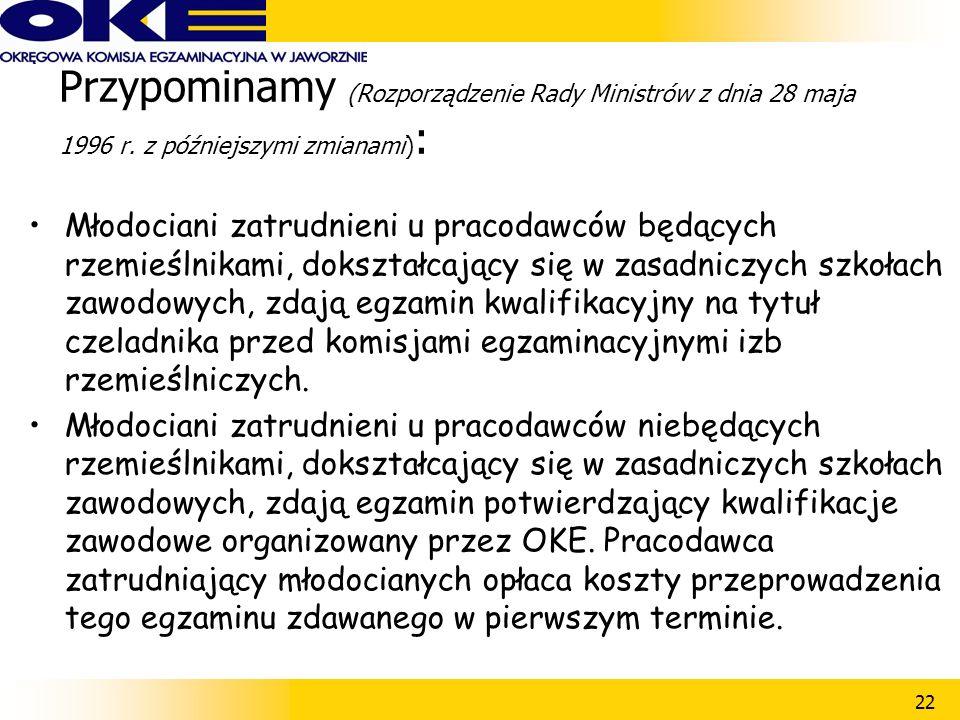 22 Przypominamy (Rozporządzenie Rady Ministrów z dnia 28 maja 1996 r.