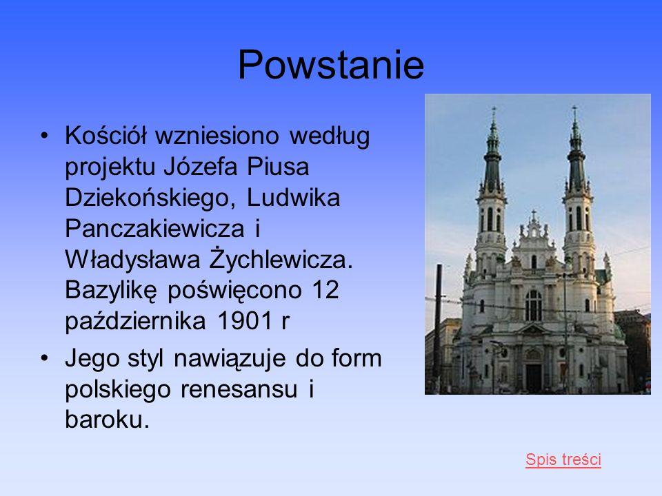 Powstanie Kościół wzniesiono według projektu Józefa Piusa Dziekońskiego, Ludwika Panczakiewicza i Władysława Żychlewicza. Bazylikę poświęcono 12 paźdz