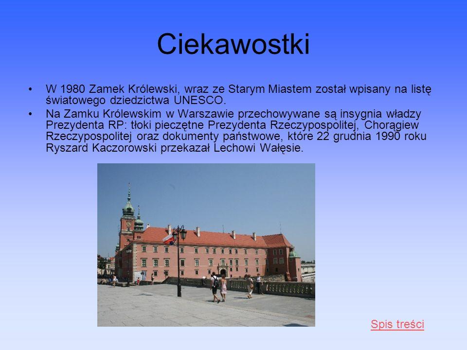 Ciekawostki W 1980 Zamek Królewski, wraz ze Starym Miastem został wpisany na listę światowego dziedzictwa UNESCO. Na Zamku Królewskim w Warszawie prze