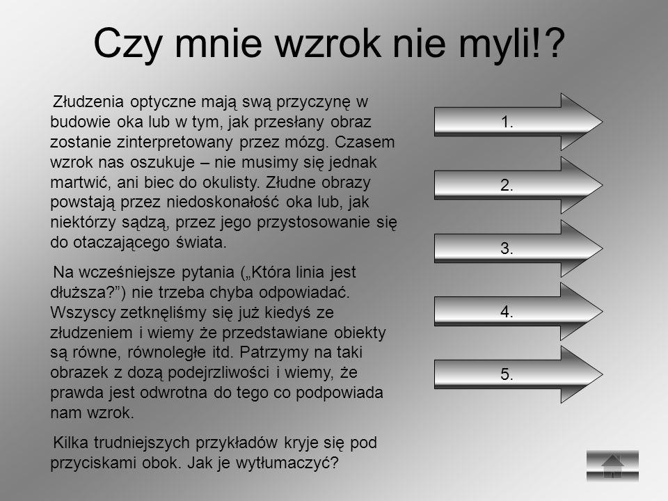 Czy mnie wzrok nie myli!? Złudzenia optyczne mają swą przyczynę w budowie oka lub w tym, jak przesłany obraz zostanie zinterpretowany przez mózg. Czas