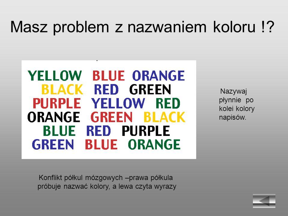 Masz problem z nazwaniem koloru !? Nazywaj płynnie po kolei kolory napisów. Konflikt półkul mózgowych –prawa półkula próbuje nazwać kolory, a lewa czy