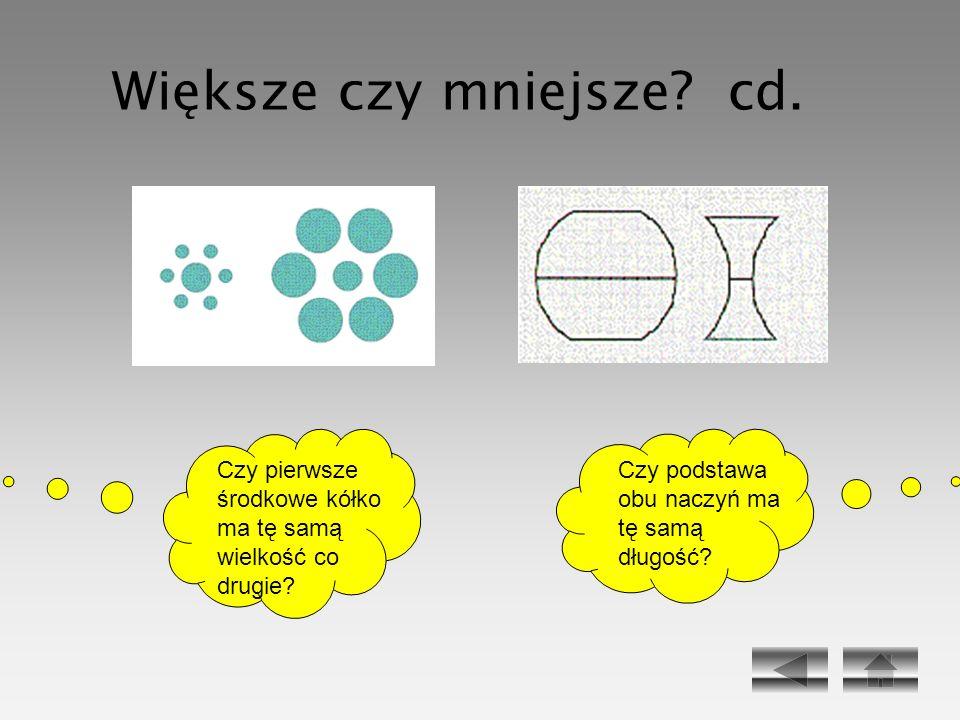 Czy podstawa obu naczyń ma tę samą długość? Czy pierwsze środkowe kółko ma tę samą wielkość co drugie? Większe czy mniejsze? cd.