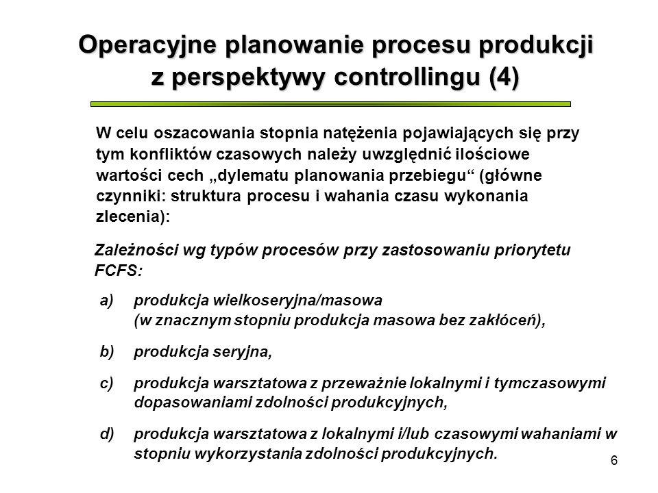 6 Operacyjne planowanie procesu produkcji z perspektywy controllingu (4) W celu oszacowania stopnia natężenia pojawiających się przy tym konfliktów czasowych należy uwzględnić ilościowe wartości cech dylematu planowania przebiegu (główne czynniki: struktura procesu i wahania czasu wykonania zlecenia): a)produkcja wielkoseryjna/masowa (w znacznym stopniu produkcja masowa bez zakłóceń), b)produkcja seryjna, c)produkcja warsztatowa z przeważnie lokalnymi i tymczasowymi dopasowaniami zdolności produkcyjnych, d)produkcja warsztatowa z lokalnymi i/lub czasowymi wahaniami w stopniu wykorzystania zdolności produkcyjnych.