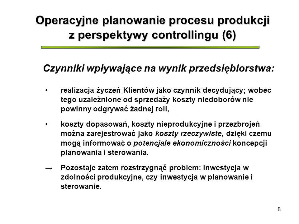 8 Operacyjne planowanie procesu produkcji z perspektywy controllingu (6) realizacja życzeń Klientów jako czynnik decydujący; wobec tego uzależnione od sprzedaży koszty niedoborów nie powinny odgrywać żadnej roli, koszty dopasowań, koszty nieprodukcyjne i przezbrojeń można zarejestrować jako koszty rzeczywiste, dzięki czemu mogą informować o potencjale ekonomiczności koncepcji planowania i sterowania.