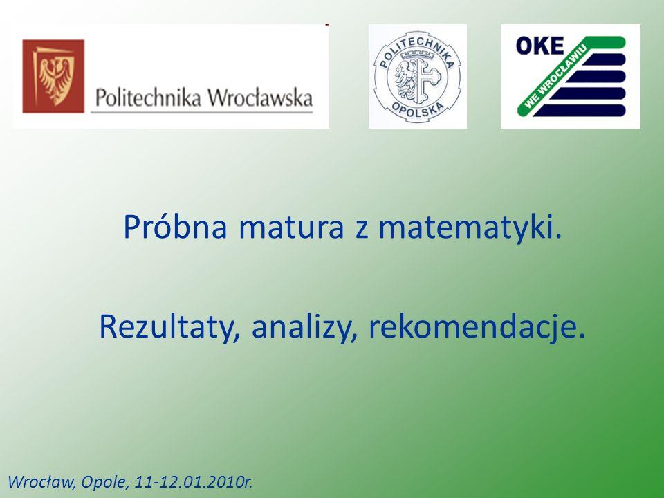 Próbna matura z matematyki. Rezultaty, analizy, rekomendacje. Wrocław, Opole, 11-12.01.2010r.