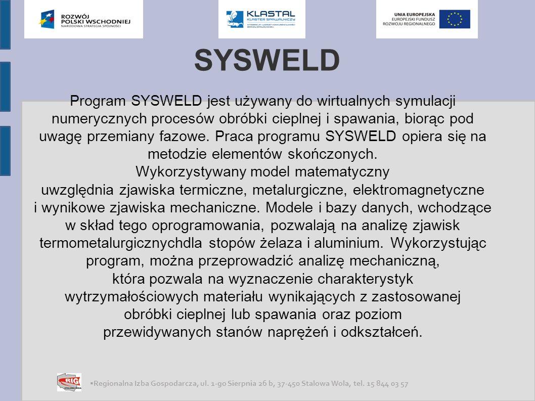 SYSWELD Program jest udostępniany w dwóch podstawowych konfiguracjach: moduł do obróbki cieplnej moduł do symulacji procesu spawania Moduł do przeprowadzania symulacji procesu obróbki cieplnej zawiera: kod interaktywny, pre oraz post-processing, przwodnik po procesie obróbki cieplnej, sysweld solver, standardowa bazę materiałów dla programu SYSWELD.