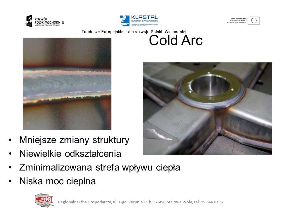 Mniejsze zmiany struktury Niewielkie odkształcenia Zminimalizowana strefa wpływu ciepła Niska moc cieplna Cold Arc Regionalna Izba Gospodarcza, ul. 1-