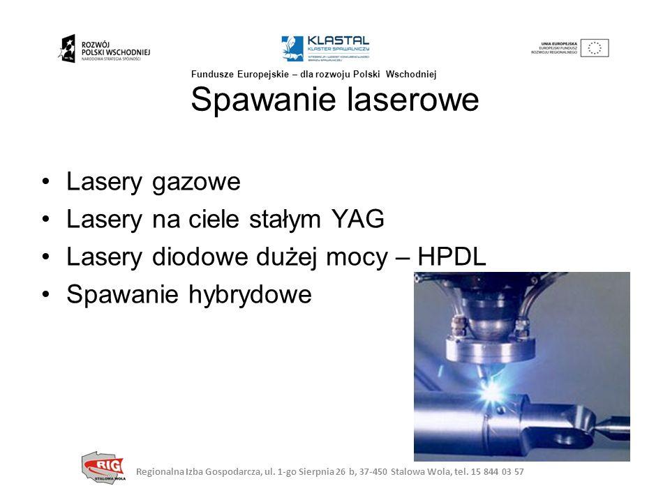 Lasery gazowe Lasery na ciele stałym YAG Lasery diodowe dużej mocy – HPDL Spawanie hybrydowe Spawanie laserowe Regionalna Izba Gospodarcza, ul. 1-go S