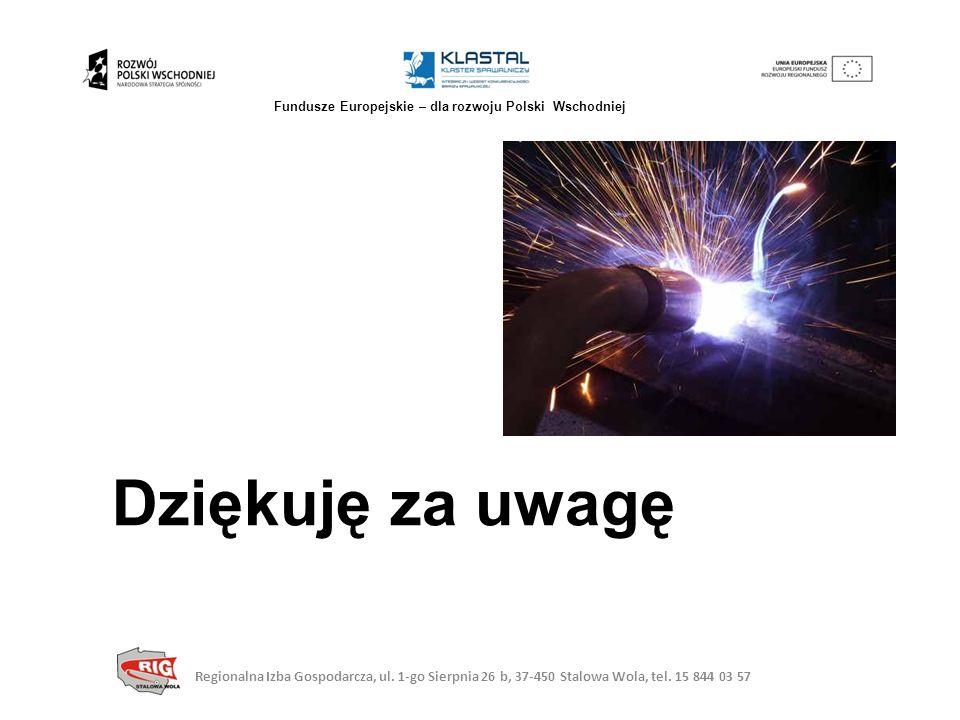 Dziękuję za uwagę Regionalna Izba Gospodarcza, ul. 1-go Sierpnia 26 b, 37-450 Stalowa Wola, tel. 15 844 03 57 Fundusze Europejskie – dla rozwoju Polsk