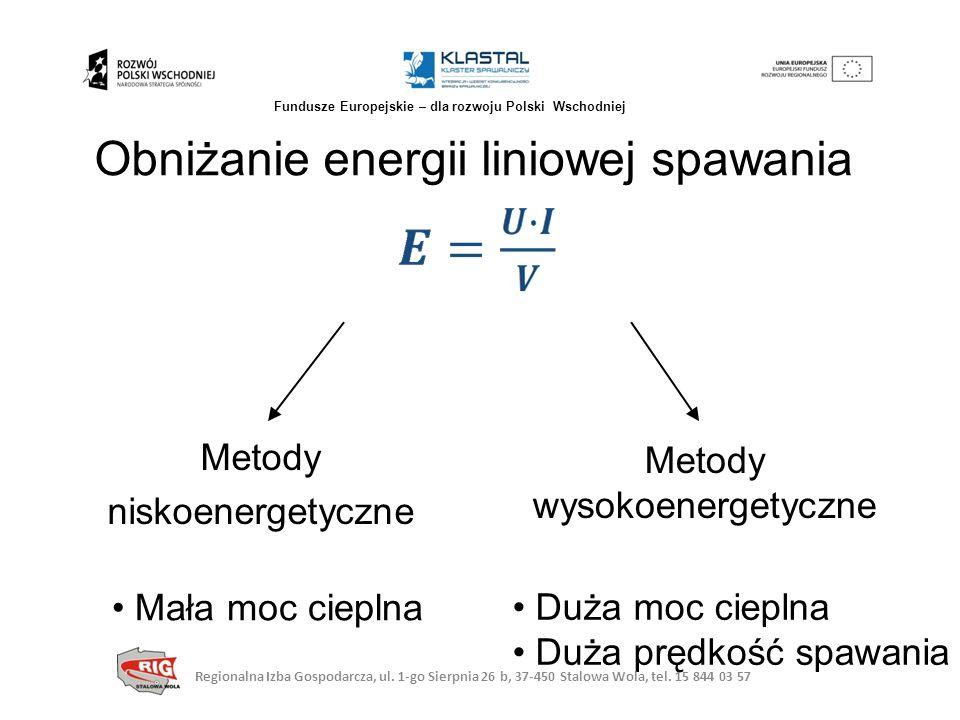 Obniżanie energii liniowej spawania Metody niskoenergetyczne Metody wysokoenergetyczne Mała moc cieplna Duża moc cieplna Duża prędkość spawania Region